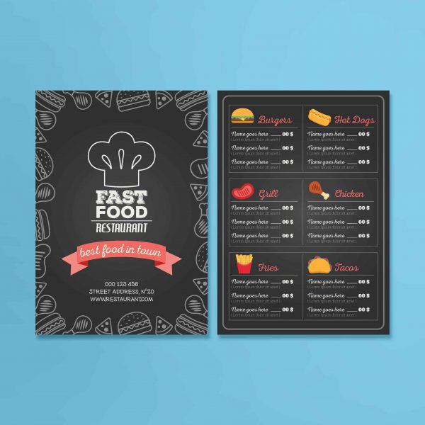 a5 table menus web design graphic design logo design derry